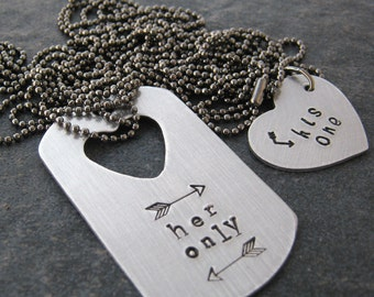 His One Her Only Heart Necklace Set, aluminum dog tag, medium heart, gunmetal chain, customize with your details, read listing for specs