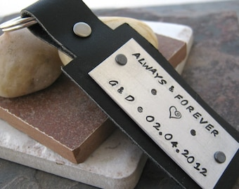 Personalized Always & Forever Leather and aluminum keychain, key fob, choose your leather color, wording, and font from our charts