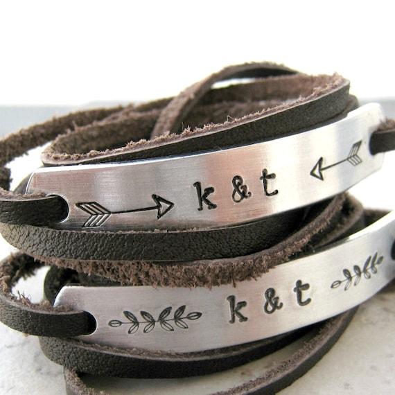 couples bracelets couples leather wrap bracelets set of 2