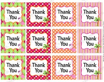 Printable Flamingo Thank You Tags - Instant Download