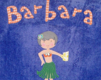 Personalized Large Caribbean Blue Velour Beach Towel with Hula Girl,Bath Towel,Pool Towel,Retirement Towel,Retirement Gift,Bridal Party Gift