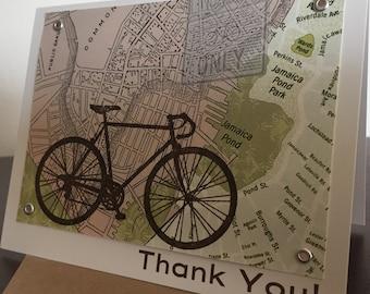 Boston Map and Bike Thank You - 12-Pack Screen-Printed Greeting Card