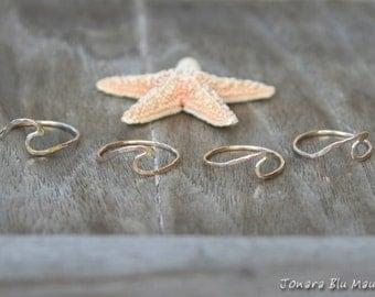 Hawaii Wave Ring - 18 Gauge, Gold Filled, Hammered, Nalu, Beach jewelry, Surfer girl, Mermaid, summer