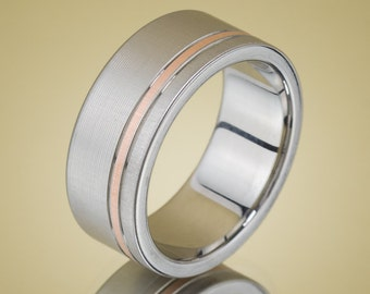 Inconel Wedding Ring with Rose Gold Inlay