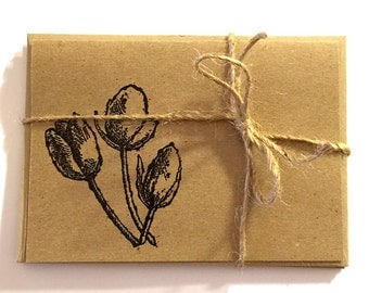 FREE Shipping Handmade Note Cards with Embossed Tulips - Black