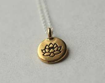 Lotus Necklace, Lotus Charm Necklace, Minimal Jewelry, Flower Pendant, Gold Lotus, Floral Jewelry, Mixed Metal Jewelry