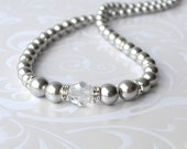 Gray Pearl Necklace, Pearl and Crystal Strand Necklace, Long Pearl Necklace, Swarovski, Grey Pearl Jewelry, Mother of the Bride, Bridesmaid