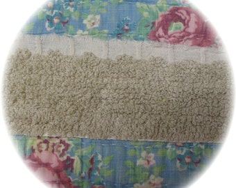 Vintage Chenille Bedspread Quilt Trim Fringe 8 yards 12 inches Flat Retro Tan Brown Destash DIY