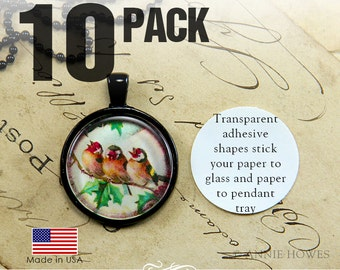 10 Pack Glass Pendant Adhesive. Dry Glue Sticky Shape Alternative to Glaze for Pendant Trays. Circle or Square Glamour Stickies. 10 Pack.