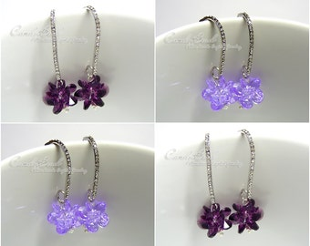 Swarovski Earrings, Amethyst and Violet Butterfly Pea with Cubic Zirconia Detailed Earring (E019-01)