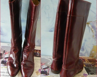 Vintage Charles David Knee Boots Brown Leather ITALY size 8 aa Eur 38 .5 UK 5 .5  Narrow width Riding Flat Stovepipe Equestrian