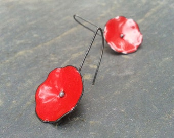 Red Poppy flower Earrings Red enamel poppies with Sterling Silver Wires