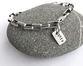 Customized Personalized Sterling Silver Box Chain Bracelet Heavy Solid Sterling With Custom Stamped Tag