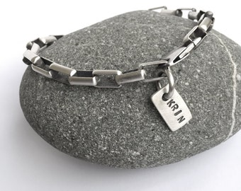 Customized Personalized Sterling Silver Box Chain Bracelet Heavy Solid Sterling With Custom Stamped Tag Your Size