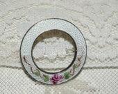 Vintage Guilloche enamel brooch pin cabbage rose