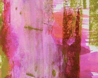 """abstract fine art reproduction print, small, pink, green, """"Bright Young Thing"""""""