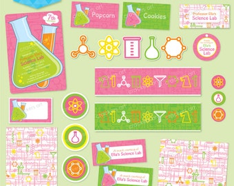 SCIENCE Party DELUXE Package (Pink) - DIY Printable - Customised PDFs