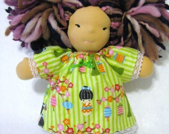 8 inch chubby waldorf  flannel nightgown in cherry blossom girls print