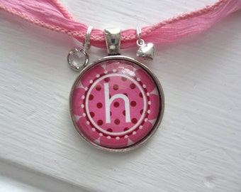 Pink Flower Initial Pendant Necklace with Heart and Swarovski Charms
