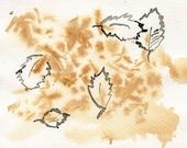 Ink drawing  tea stains  The Leaves // ORIGINAL / watermedia   ooak /  tea and ink