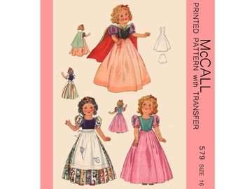 1930's McCall 579 - 16 inch shirley temple or other doll clothes sewing pattern - PDF
