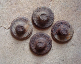 Rusty Textured Metal Pieces Round Nipples Found Object - Recycled Metal for Assemblage, Altered Art or Sculpture - Industrial Salvage