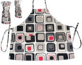 Apron Cotton Fabric full size adjustable extra long ties Geometric print in red black grey on white one pocket