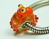 Handmade frog Glass Lampwork Animal Bead fit Europian charm bracelets silver plated
