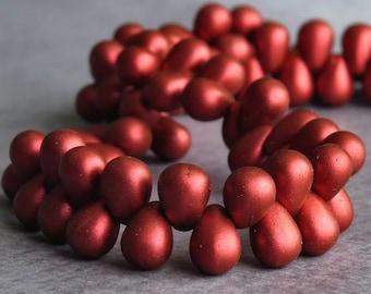 Matte Metallic Lava Czech Glass Bead 4x6mm Tear Drop : 50 pc Lava Red Teardrop Beads