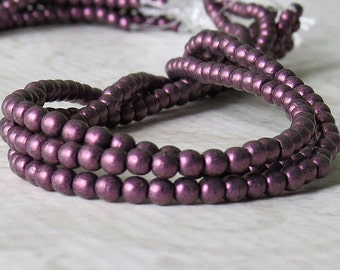 Pink Metallic Suede Czech Glass Bead 3mm Round Druk :  100 pc 3mm Pink Suede Metallic Druk
