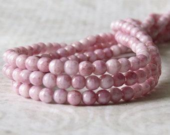 Topaz Pink Luster Czech Glass Bead 3mm Round Druk :  100 pc 3mm Pink Druk