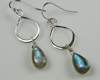 Labradorite Infinity Loop Earrings Sterling Silver Blue Flash