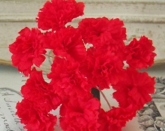 Vintage Millinery / Red Carnations / One Bouquet / One Bouquet / Twelve Stems / Valentine's Day