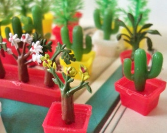 Vintage / Miniature Plastic Plants / Fifteen Items / Variety / Dollhouse / Cupcake Toppers