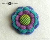 Handmade Crocheted, Felted and Embellished Wool Brooch Pin in Orchid, Turquoise & Blue