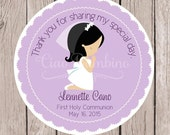 PRINTABLE Girls First Holy Communion Favor Tags in Lavender / Print your own Personalized Communion Sticker / Choose Hair Color / You Print