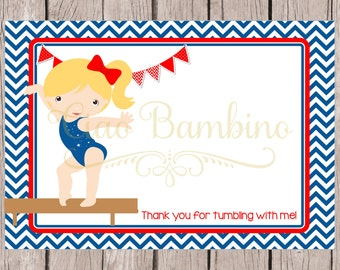 PRINTABLE Gymnastics Birthday Party Thank You Card / 5x7 Thank You in Red, White & Blue with Blonde Gymnast / You Print / INSTANT DOWNLOAD