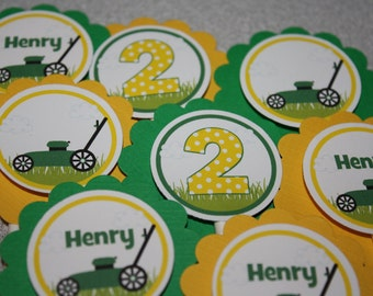Lawn Mower Cupcake Toppers / Lawn Mower Birthday Party Toppers / Cupcake Picks / Lawn Tractor Cupcake Toppers / ANY Color or Age