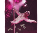 Stripper Sloth, Sloth, Fleece Blanket, Printed in USA