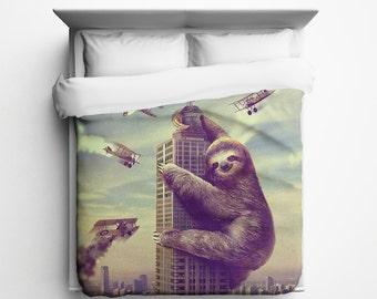 Slothzilla, Sloth Empire Queen Duvet Cover