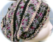 La Slouch Hat for Ladies, Ivory, Black, Gray, Green, Berry, Teal Print Acrylic Yarn, Hand Knit