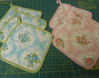 Pink OR Blue  Pot Holders Set of 3 Vintge Cameo Rose Fabric sewbuzyb