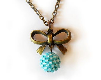 Mint Bronze Bow Necklace with glass beads  - Simple Berry Beaded Beadwork Necklace