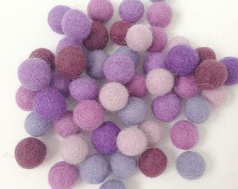 Mixed Shades Felt Ball Grab Bags - Purples - 60 pieces