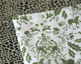 Forest Story Fabric - Olive Green - Half Yard