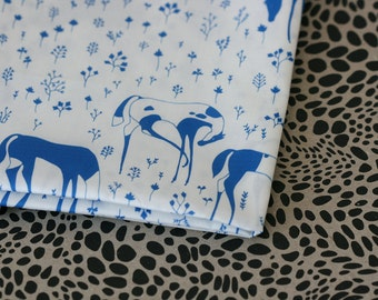 Field Day Fabric - Blue on White - Half Yard