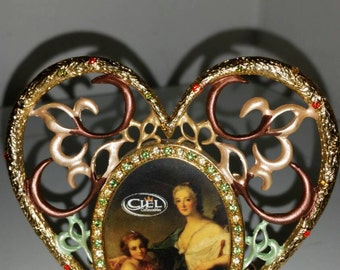 Vint. Ciels Collectables Picture Frame,Heart Shaped Picture  Frame, New Vintage,Romantic, Heart Picture Frame,Jeweled Frame,small frame
