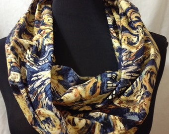 Lightweight Infinity Circle Scarf Made From Dr. Who Starry Night TARDIS Police Box Fabric