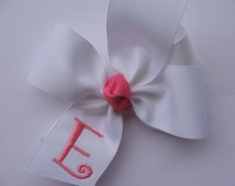 Boutique Monogrammed White Pinwheel Hairbow... U Choose Initial