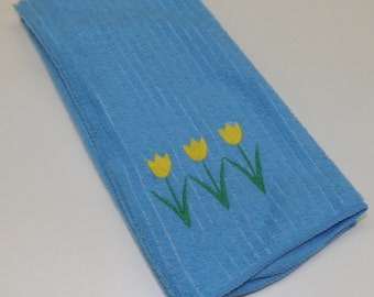 Light Blue Embroidered Tulip Kitchen Towel